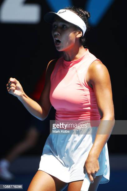 Leylah Annie Fernandez of Canada celebrates in her Junior Girls' Singles Final against Clara Tauson of Denmark during day 13 of the 2019 Australian...
