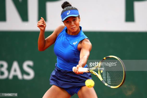 Leylah Annie Fernandez of Canada during the girls juniors singles final against Emma Navarro of The United States during Day fourteen of the 2019...