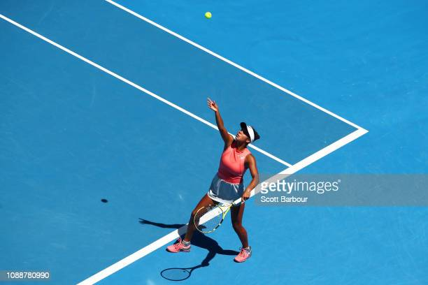 Leylah Annie Fernandez of Canada serves in her Junior Girls' Singles Final against Clara Tauson of Denmark during day 13 of the 2019 Australian Open...