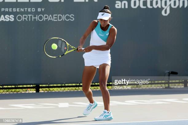 Leylah Fernandez of Canada plays a backhand during her match against during Top Seed Open - Day 2 at the Top Seed Tennis Club on August 11, 2020 in...