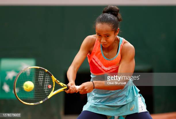 Leylah Fernandez of Canada plays a backhand during her Women's Singles third round match against Petra Kvitova of Czech Republic on day seven of the...