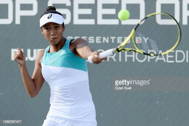 Leylah Fernandez of Canada plays a forehand during her match against Sloane Stephens during Top Seed Open - Day 2 at the Top Seed Tennis Club on...