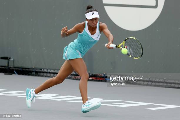 Leylah Fernandez of Canada plays a forehand during her match against Shelby Rogers during Top Seed Open - Day 4 at the Top Seed Tennis Club on August...