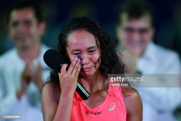 Leylah Fernandez of Canada reacts after the singles match between Leylah Fernandez of Canada and Heather Watson of Great Britain as part of the ATP...