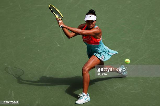 Leylah Fernandez of Canada returns the ball during her Women's Singles second round match against Sofia Kenin of the United States on Day Four of the...