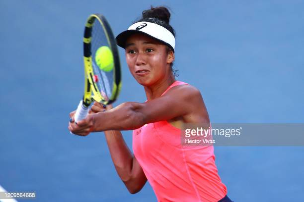 Leylah Fernandez of Canada returns the ball during the singles match between Leylah Fernandez of Canada and Heather Watson of Great Britain as part...