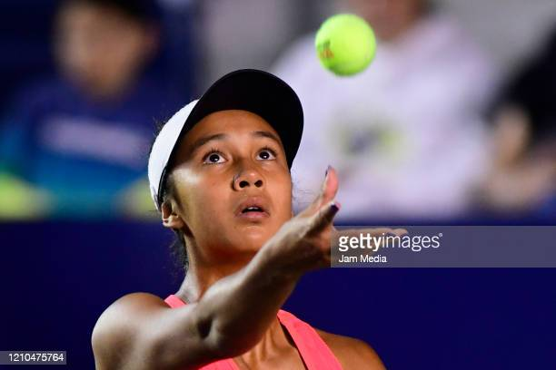 Leylah Fernandez of Canada servers during the round of 16 between Sloane Stephens of USA and Leylah Fernandez of Canada on March 4 at GNP Seguros...