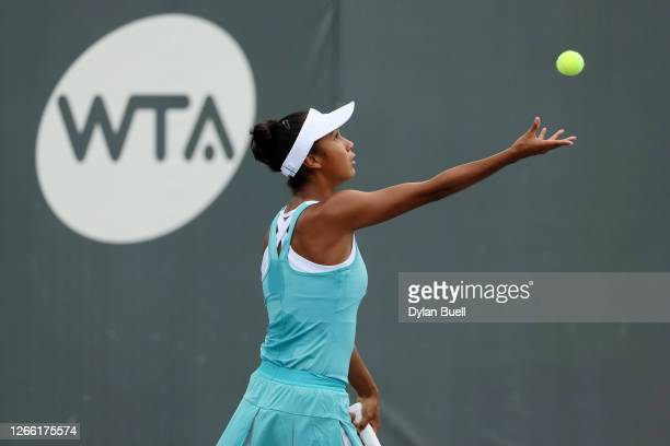 Leylah Fernandez of Canada serves during her match against Shelby Rogers during Top Seed Open - Day 4 at the Top Seed Tennis Club on August 13, 2020...