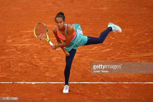 Leylah Fernandez of Canada serves during her Women's Singles third round match against Petra Kvitova of Czech Republic on day seven of the 2020...