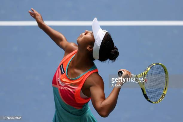Leylah Fernandez of Canada serves during his Women's Singles second round match against Sofia Kenin of the United States on Day Four of the 2020 US...