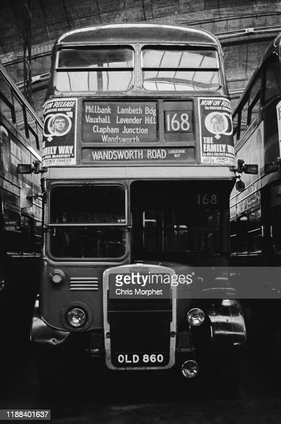 A Leyland Titan doubledecker bus at Stockwell Bus Garage south London 26th February 1967