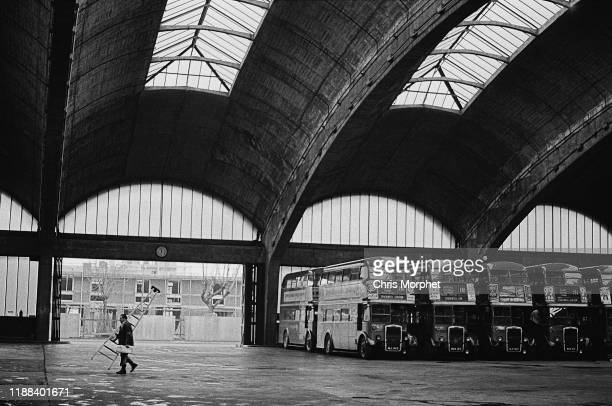 Leyland Titan doubledecker buses at Stockwell Bus Garage south London 26th February 1967