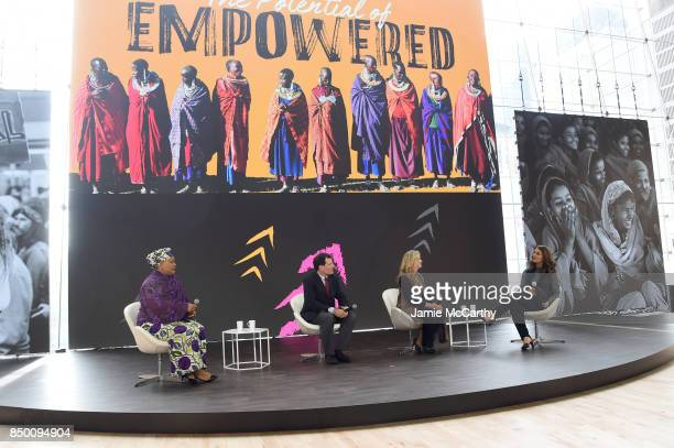 Leymah Gbowee Nick Kristof Laurel Weldon and Melinda Gates speak speaks at Goalkeepers 2017 at Jazz at Lincoln Center on September 20 2017 in New...