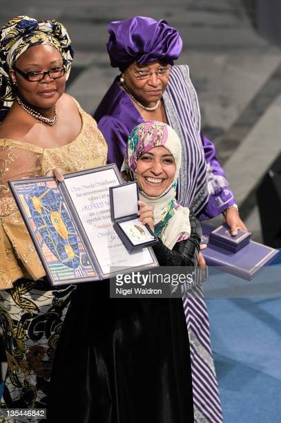 Leymah Gbowee of Liberia Ellen Johnson Sirleaf President of Liberia and Tawakkol Karman of Yemeni joint winners of the Nobel Peace Prize during the...