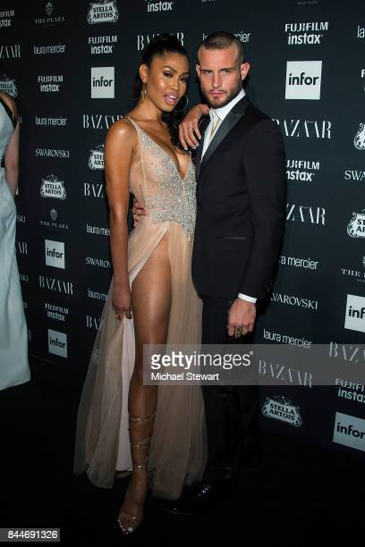 Leyna Bloom and Nico Tortorella attend 2017 Harper's Bazaar Icons at The Plaza Hotel on September 8 2017 in New York City