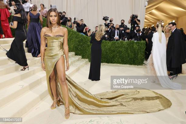 Leyna Bloom attends The 2021 Met Gala Celebrating In America: A Lexicon Of Fashion at Metropolitan Museum of Art on September 13, 2021 in New York...