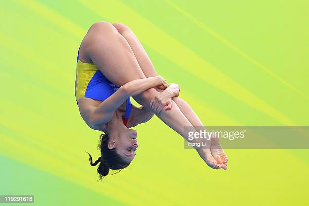 Leyre Eizaguirre of Spain competes in the Women's 1m Springboard preliminary round during Day Two of the 14th FINA World Championships at the...