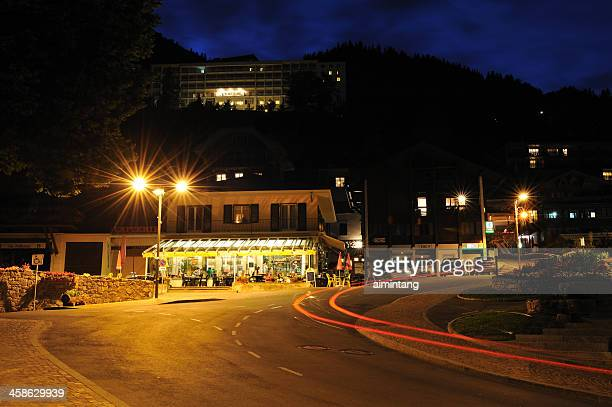 leysin at night - vaud canton stock photos and pictures