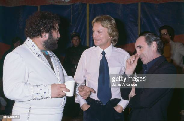 Leysin Switzeland French singer Claude Francois on the set of a tv show in the BBC studios one day before his death From left to right french singers...