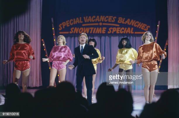 Leysin Switzeland French singer Claude Francois on the set of a tv show in the BBC studios one day before his death singing and dancing with his...