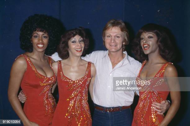 Leysin Switzeland French singer Claude Francois on the set of a tv show of BBC one day before his death with his Clodettes 10th March 1978