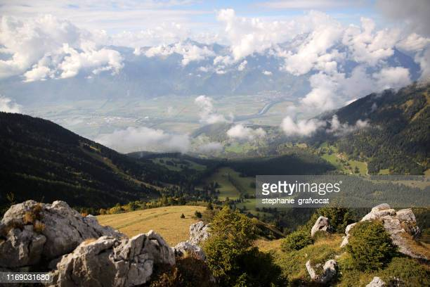 leysin valley landscape, aigle, vaud, switzerland - leysin stock photos and pictures