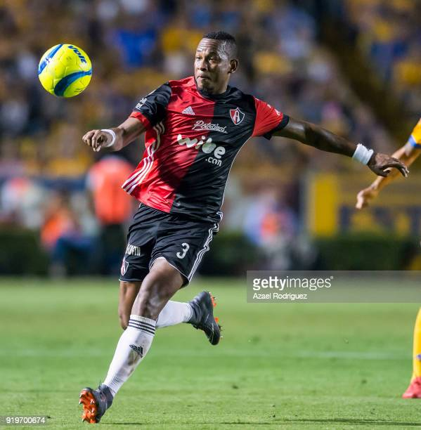 Leyton Jimenez of Atlas kicks the ball during the 8th round match between Tigres UANL and Atlas as part of the Torneo Clausura 2018 Liga MX at...