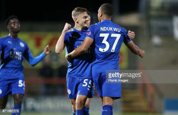 Leyton Ndukwu of Leicester City celebrates with Kiernan DewsburyHall of Leicester City after scoring to make it 11 during the Checkatrade Trophy tie...