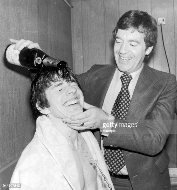 Leyton Orient 11 Southampton league match Tuesday 25th April 1978 Southampton's scorer Tony Funnell happily has a champagne shampoo from Manager...