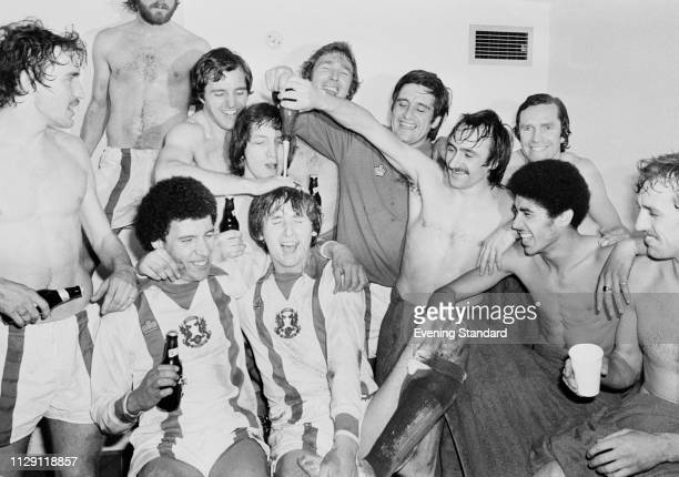 Leyton Orient FC soccer players celebrating their victory against Chelsea FC which led them to the FA Cup semifinal London UK 27th February 1978