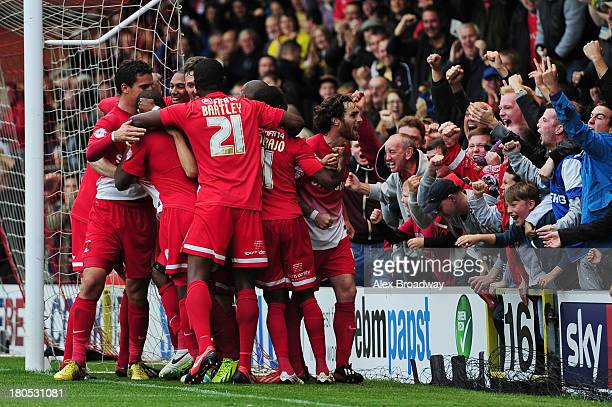 Leyton Orient players celebrate Kevin Lisbie's winning goal during the Sky Bet League One match between Leyton Orient and Port Vale at Brisbane Road...