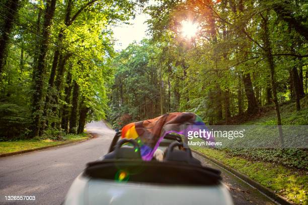 """lgbt couple driving in their convertible celebrating pride - """"marilyn nieves"""" stock pictures, royalty-free photos & images"""
