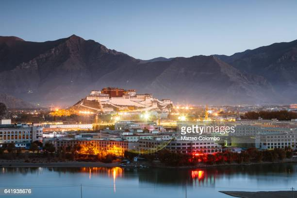 Lhasa city at sunrise with Potala palace, Tibet