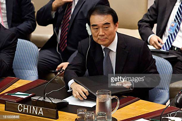 Li Baodong ambassador and permanent representative of the People's Republic of China to the United Nations attends a UN Security Council meeting...