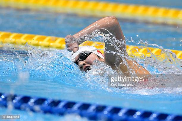 Li Bingjie of China competes in the Women's 400m Freestyle final during the 10th Asian Swimming Championships 2016 at the Tokyo Tatsumi International...