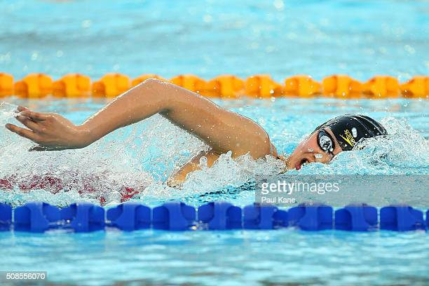 Li Bingjie of China competes in the Women's 800 metre Freestyle during the 2016 Aquatic Superseries at HBF Stadium on February 5 2016 in Perth...