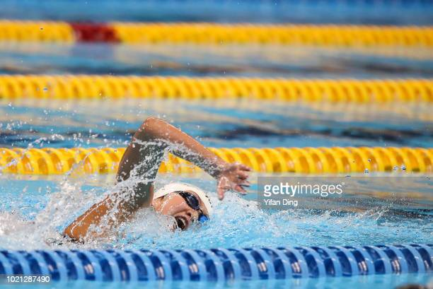 Li Bingjie of China in action during Women's 200m Freestyle Swimming Final on day four of the Asian Games on August 22 2018 in Jakarta Indonesia