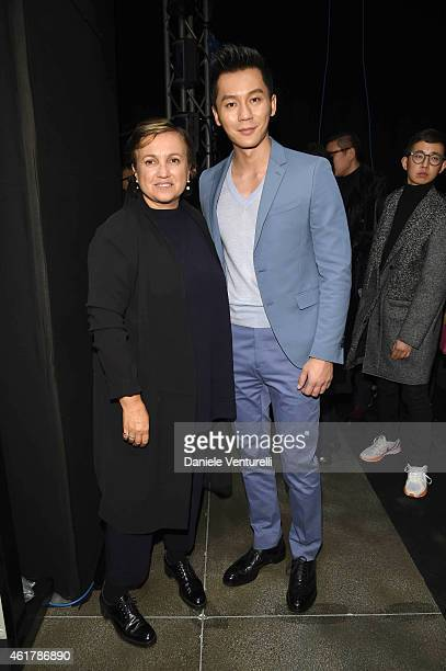 Li Chen and Silvia Venturini Fendi attend the Fendi show as a part of Milan Menswear Fashion Week Fall Winter 2015/2016 on January 19, 2015 in Milan,...