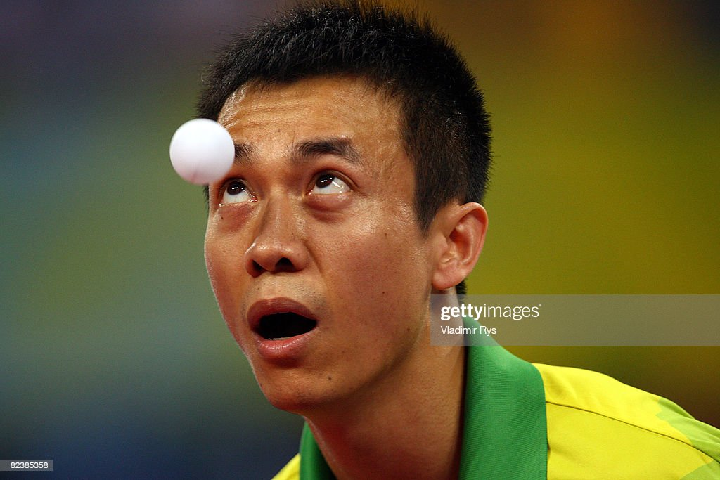 Li Ching of Hong Kong China competes during the table tennis event held at the Peking University Gymnasium during Day 9 of the 2008 Beijing Summer Olympic Games on August 17, 2008 in Beijing, China.