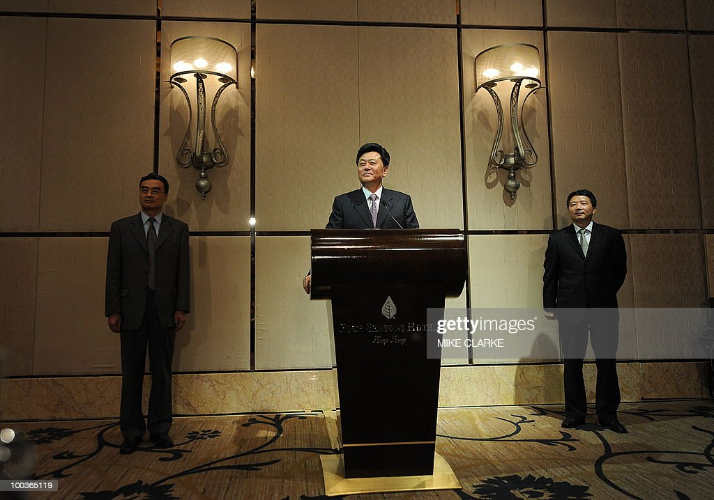 Li Gang, Deputy Director of Beijing Liaison Office, speaks at a news conference in Hong Kong on May 24, 2010. Three Hong Kong Democratic Party members have held a rare meeting with Chinese officials to talk about political reform.