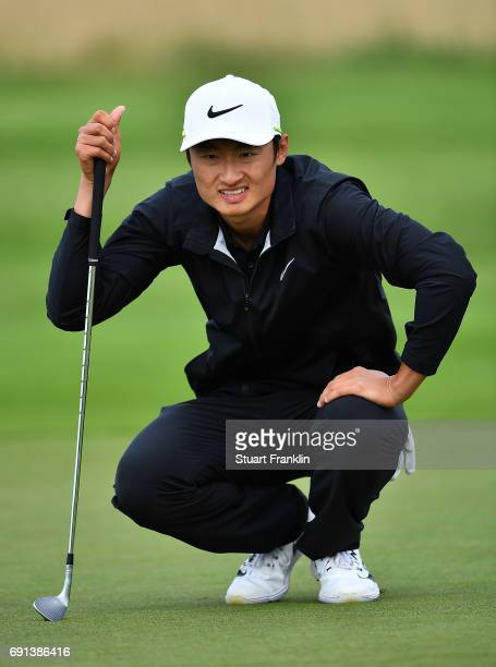 Li Haotong of China lines up a putt during the second round of The Nordea Masters at Barseback Golf Country Club on June 2 2017 in Barsebackshamn...