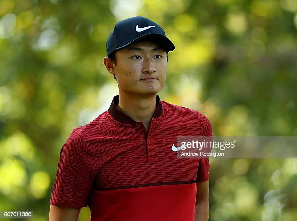 Li Haotong of China looks on on the 7th hole during the second round of the Italian Open at Golf Club Milano Parco Reale di Monza on September 17...