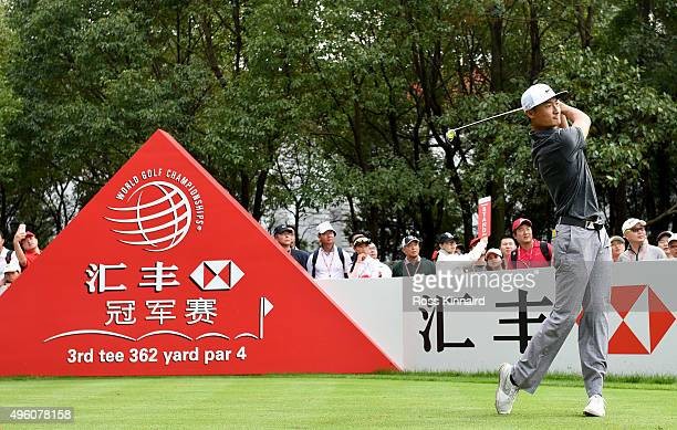 Li Haotong of China on the 3rd tee during the third round of the WGC HSBC Champions at the Sheshan International Golf Club on November 7 2015 in...