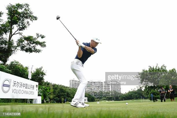 Li Haotong of China plays a shot during the proam prior to the start of the Volvo China Open at Genzon Golf Club on May 1 2019 in Chengdu China