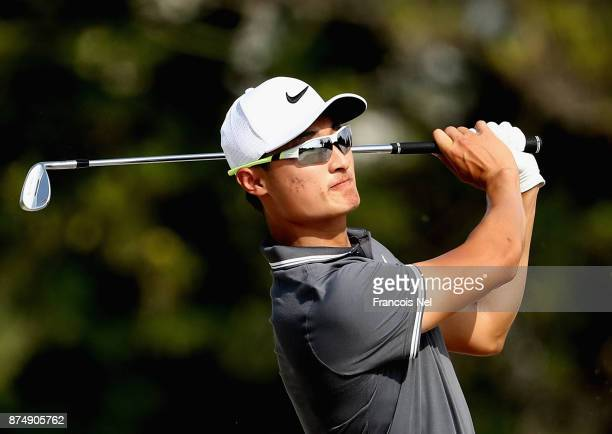 Li Haotong of China plays his second shot on the 11th hole during the first round of the DP World Tour Championship at Jumeirah Golf Estates on...