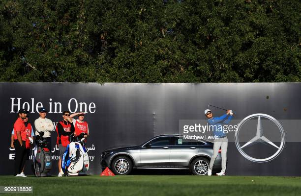 Li Haotong of China plays his shot from the 12th tee during round two of the Abu Dhabi HSBC Golf Championship at Abu Dhabi Golf Club on January 19...