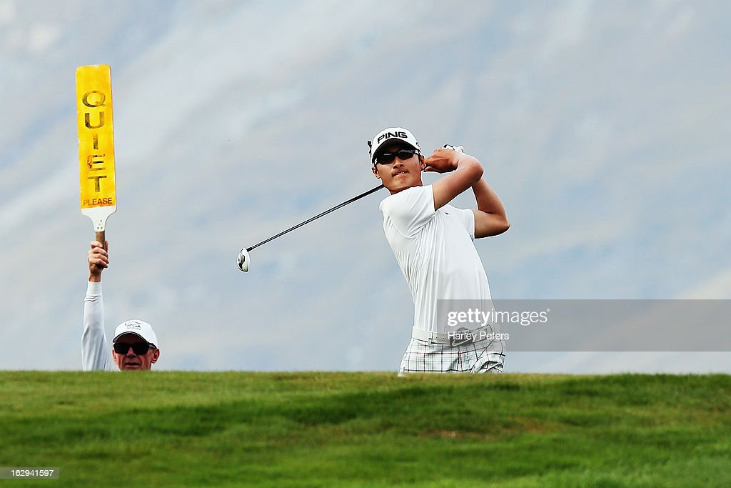 Li Hao-tong of China tees off during day three of the New Zealand PGA Championship at The Hills Golf Club on March 2, 2013 in Queenstown, New Zealand.