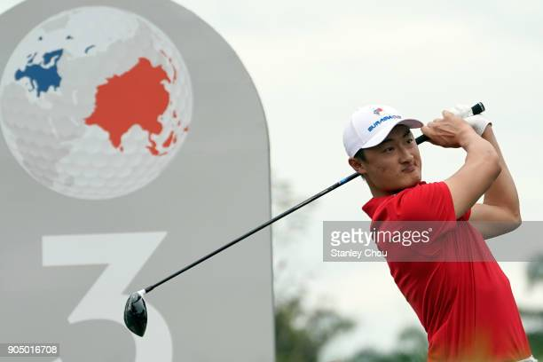 Li Haotong of team Asia in action during the singles matches on day three of the 2018 EurAsia Cup presented by DRBHICOMat Glenmarie GCC on January 14...