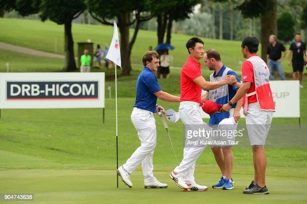 Li Haotong of Team Asia pictured during final day of the Eurasia Cup 2018 presented by DRB HICOM at Glenmarie GCC on January 14 2018 in Kuala Lumpur...