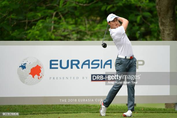 Li Haotong of Team Asia pictured during practise round ahead of Eurasia Cup 2018 presented by DRB Hicom at Glenmarie GCC on January 9 2018 in Kuala...